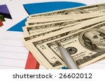 chart with money and pen | Shutterstock . vector #26602012