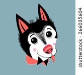 portrait of funny little husky... | Shutterstock .eps vector #266035604