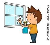 child cleaning window  vector... | Shutterstock .eps vector #266050931