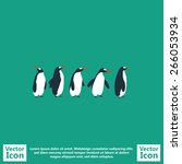 flat style icon with penguins... | Shutterstock .eps vector #266053934