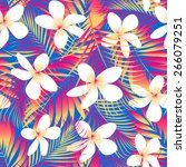 tropical flowers with leaves... | Shutterstock .eps vector #266079251