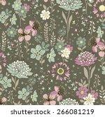 seamless flower pattern. vector ... | Shutterstock .eps vector #266081219