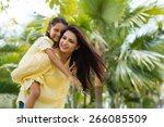 young indian woman giving... | Shutterstock . vector #266085509