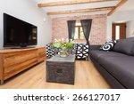 living room in an modern...   Shutterstock . vector #266127017