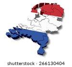 3d. Netherlands  Map  Flag.