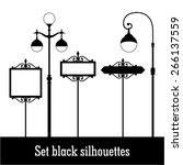 Set Black Silhouettes Lamppost...