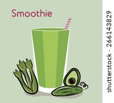 vegetables smoothie vector... | Shutterstock .eps vector #266143829