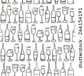 wine bottles and glasses... | Shutterstock .eps vector #266154191