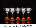 five glasses of champagne with...   Shutterstock . vector #266163971