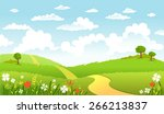 the road in green fields  ... | Shutterstock .eps vector #266213837