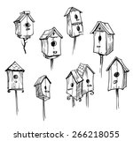 Set Of Hand Drawn Bird Houses