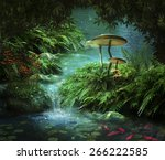 view of fantasy river with a... | Shutterstock . vector #266222585