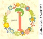 cute zoo alphabet  iguana with...   Shutterstock .eps vector #266238917