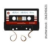 rock music. audio cassette. | Shutterstock .eps vector #266240621