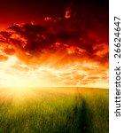 field of grass and sunset | Shutterstock . vector #26624647