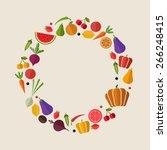 flat vector vegetables and...   Shutterstock .eps vector #266248415