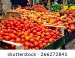 tomatoes on farmer market in... | Shutterstock . vector #266272841