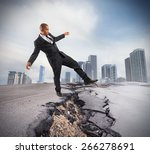 businessman trying to overcome... | Shutterstock . vector #266278691