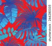 tropical leaves seamless... | Shutterstock .eps vector #266280335