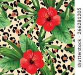 tropical flowers and leaves... | Shutterstock .eps vector #266281205