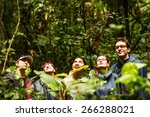 group of tourists in ecuadorian ... | Shutterstock . vector #266288021