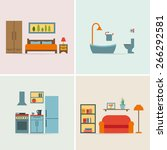 furniture icon set for rooms of ... | Shutterstock .eps vector #266292581