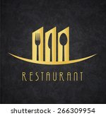logo restaurant gold and black | Shutterstock .eps vector #266309954