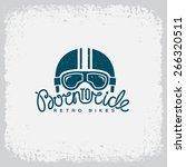vintage label with helmet ... | Shutterstock .eps vector #266320511