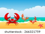 Family Of Crabs On A Beach ...