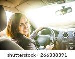 Woman In Car Indoor Keeps Whee...