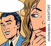 man calls woman retro style...   Shutterstock .eps vector #266347265