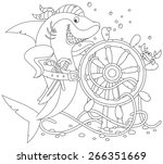 pirate shark with a pistol  a... | Shutterstock .eps vector #266351669
