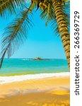 amazing sandy beach with... | Shutterstock . vector #266369729