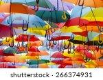 parasol. multicolored umbrellas.... | Shutterstock . vector #266374931