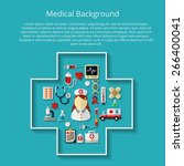medicine icons on background... | Shutterstock .eps vector #266400041