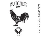 butcher cuts scheme of chicken... | Shutterstock .eps vector #266402471