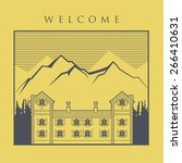 vintage mountain house label ... | Shutterstock .eps vector #266410631