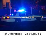 sheriff cruiser car with his... | Shutterstock . vector #266425751