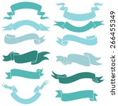vector set of turquoise ribbons ... | Shutterstock .eps vector #266455349
