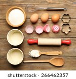 food ingredients and kitchen... | Shutterstock . vector #266462357