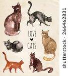 Set Of Watercolor Cats....