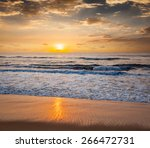 peaceful serene morning on beach