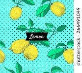 pattern with lemons | Shutterstock .eps vector #266491049