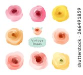 Stock vector set of vector floral collection of painted roses 266491859
