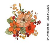 flower bouquet. floral frame. | Shutterstock .eps vector #266506301