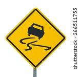 slippery when wet icon yellow... | Shutterstock . vector #266511755
