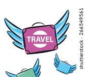 vector logo flying suitcases... | Shutterstock .eps vector #266549561