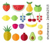 set of fruits and berries flat... | Shutterstock .eps vector #266562515