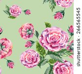 rose and button  watercolor ... | Shutterstock . vector #266565545