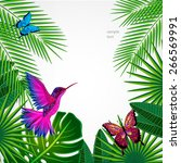 tropical leaves with birds ... | Shutterstock .eps vector #266569991